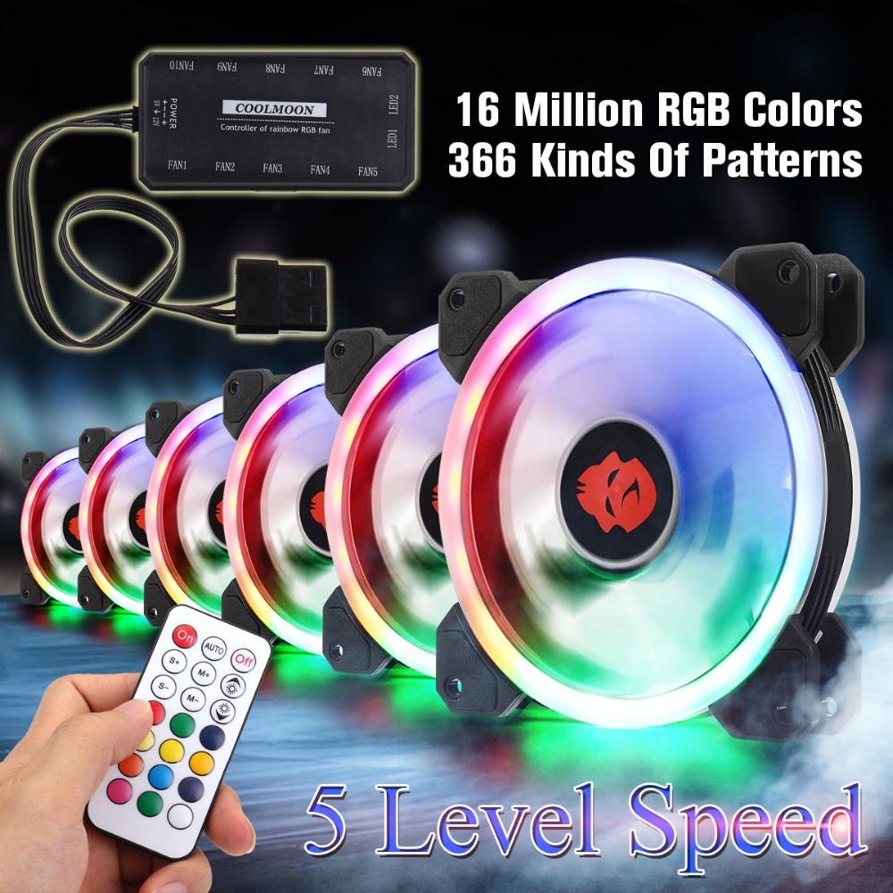 6pcs Computer Case PC Cooling Fan RGB Adjust LED 120mm Quiet + IR Remote New computer Cooler Cooling RGB Case Fan For CPU