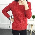 12 Cores! Hot New Outono Inverno Moda Feminina Camisola Senhora Malha Manga Comprida O Pescoço Pulôveres De Lã de Algodão Elástico