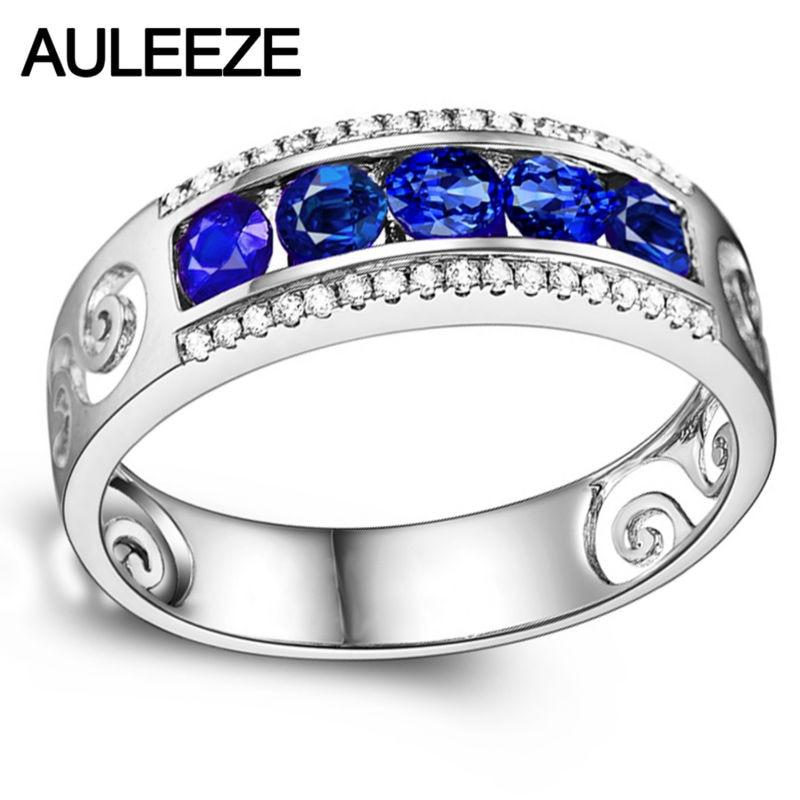 Роскошный настоящий бриллиант благородный сапфир Queen 14 К белого золота nutural алмаз обручальное кольцо для Для женщин Ювелирные украшения Рож...
