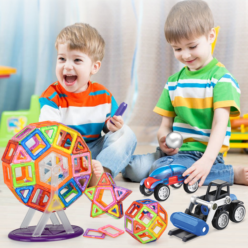 Magnetic constructor building Designers Toy horses Ferris wheel child 3D DIY Creative engineering bricks models educational toy