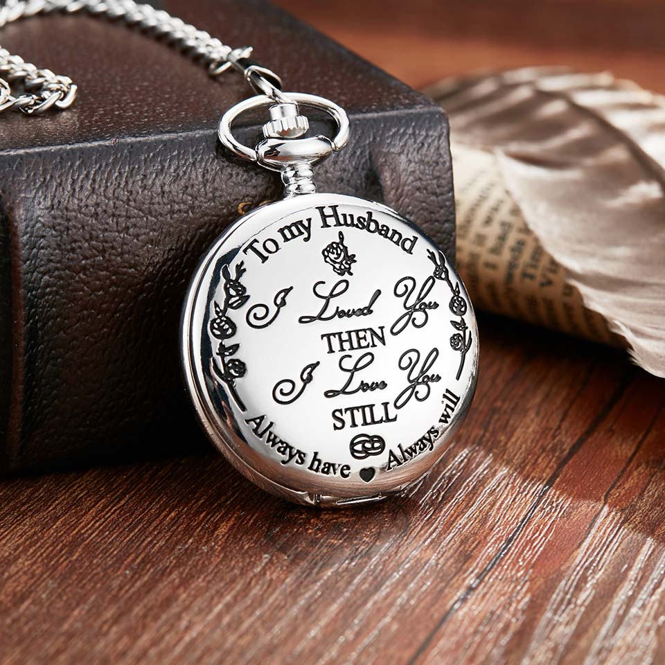 Quartz Pocket Chain Watch To My Husband From Wife Or Son Daughter Necklace Watches For Men Military Anniversary Birthday Gifts