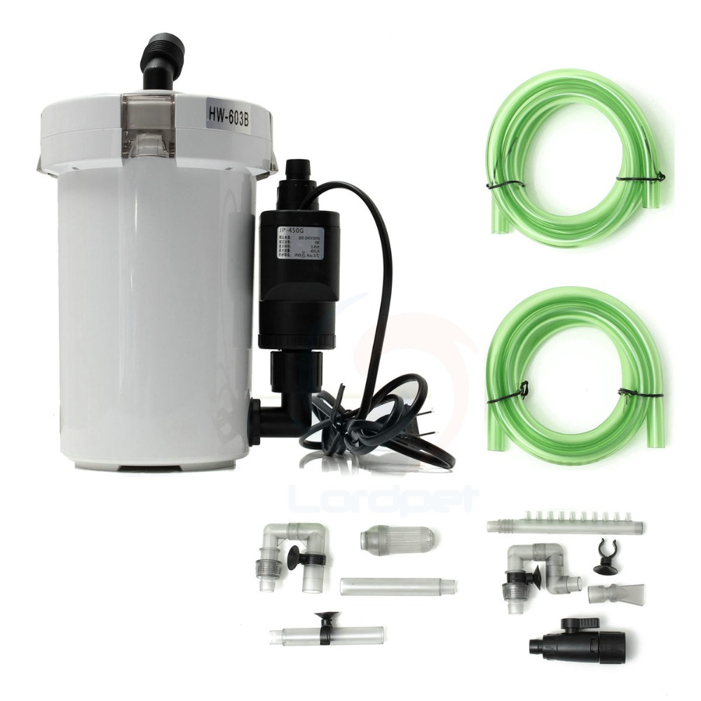 Canister Filter w Sponge inside Canister Aquarium Filter with Pump Ultra quiet 20 120L Tank HW602B