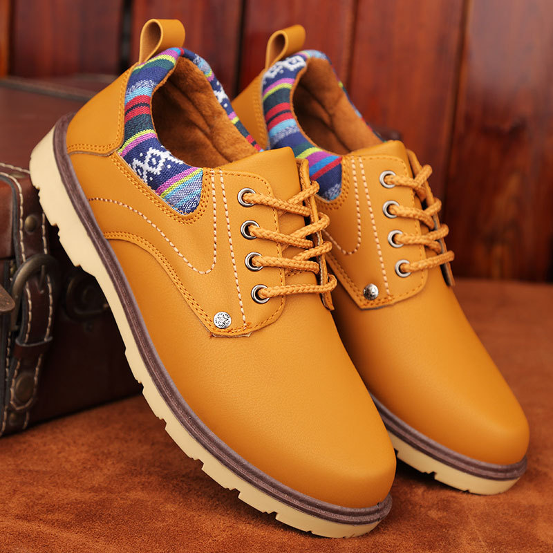 Mingpinstyle Men Casual Shose Men's Martin Boots Leather Work Boots England Desert Boots Men's Low Upper Boots Tooling Shoes