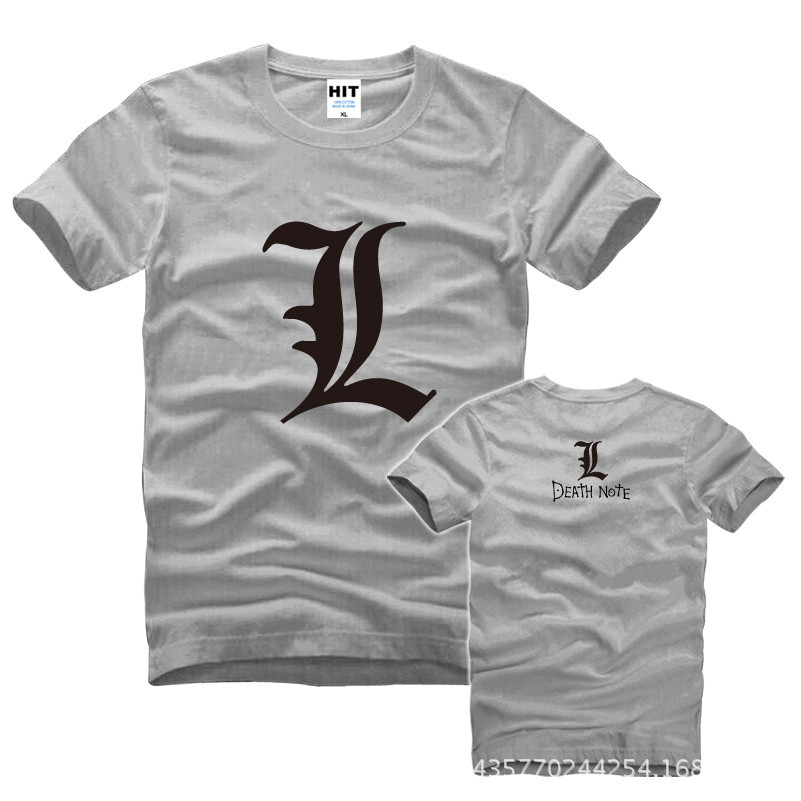 Cool Death Note L flag 프린트 Mens 남자 T 셔츠 Tshirt Fashion 2015 새로운 반소매 O 넥 코튼 티셔츠 Tee Camisetas Hombre