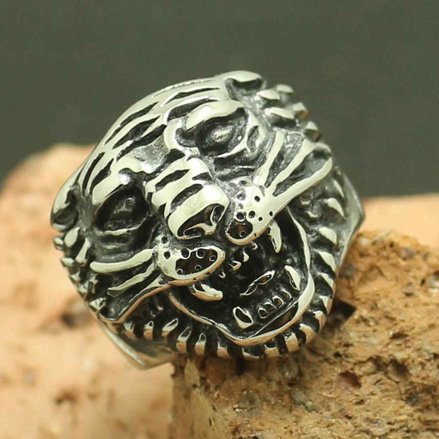 Glasregal Snake Mens 316l Stainless Steel Cool Tiger Ring Factory Price