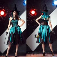 2017 New Style Halloween Costume Witch/Vampire Cosplay Gothic Dress+Hat+Cloak+Gloves For Halloween Women Carnival Free Shipping