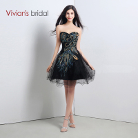 Vivian's Bridal Sexy Ball Gown Short Beaded Embroidery Sweetheart Black Prom Dresses With Tulle Cheap Price Vestido De Fest 102