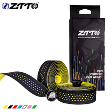 ZTTO suave carretera bicicleta manillar de bicicleta corcho EVA PU barra cinta profesional ciclismo amortiguación Anti-vibración envoltura con 2 bar macho