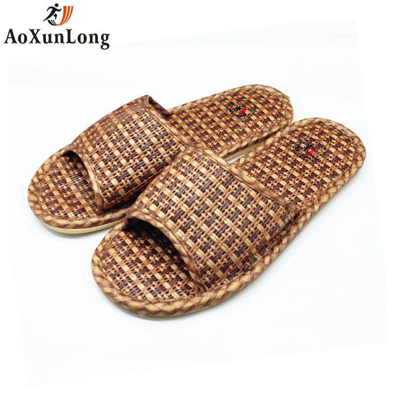 AoXunLong Summer Men Slippers Rattan Weaving Home Slippers Unisex Indoor Men Shoes Size 36-44 Zapatillas Hombre Flip Flop Men 11 2018 natural tropical royal cane couple home slippers rattan straw weave female slippers bamboo rattan summer slippers