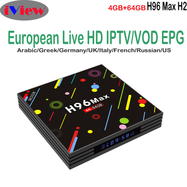 US $72 84 |H96 Max H2 4GB 64GB Android TV Box RK3328 Bluetooth With Iview  HD Arabic Channels Greek Italia Germany French UK Turkish TV Code-in  Set-top
