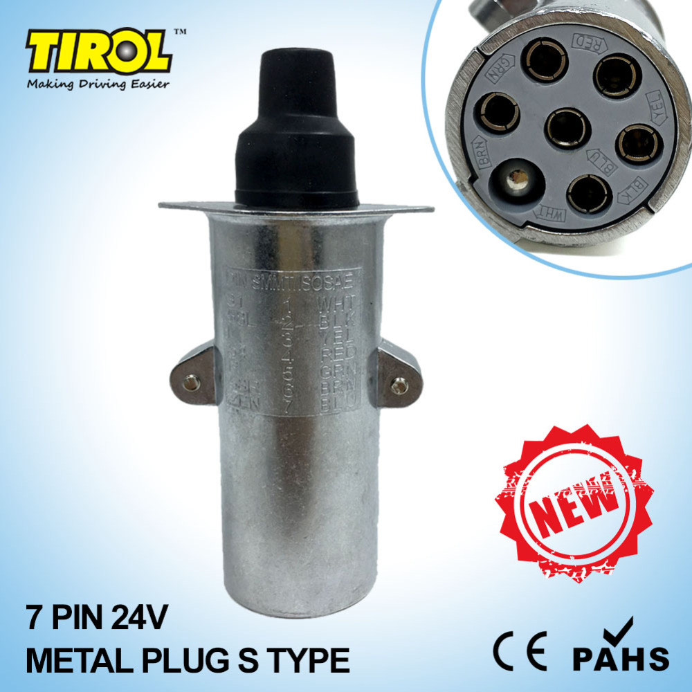 TIROL T23413b New 7 Pin 24V Metal Trailer Plug S Type Wiring Connector Tow Bar Towing Socket &Plug