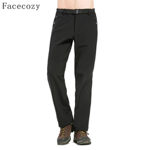 Facecozy Men Winter Outdoor Sports Thermal Trouser Windproof Hiking Softshell Fleece Long Pants