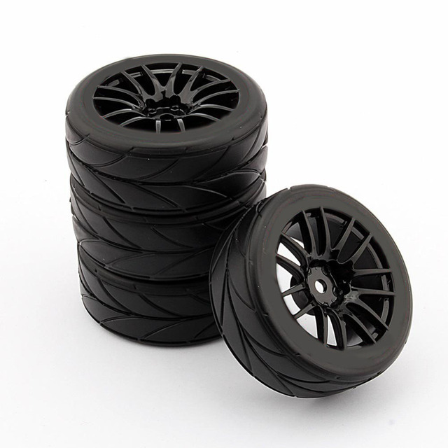 4 PCS 1/10 Rubber Band RC Racing Autobanden Op Road Velg Fit Voor HSP HPI 9068-6081 RC Auto Deel Diameter 65mm Banden