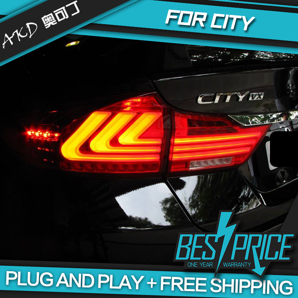AKD tuning cars Tail lights For <font><b>Honda</b></font> <font><b>CITY</b></font> 2014-2017 Taillights <font><b>LED</b></font> <font><b>DRL</b></font> Running lights Fog lights angel eyes Rear parking lights image