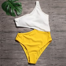 Sexy White Yellow High Waist Cut Out Trikini Ribbed Bathing Suit Monokini Asymmetric Shoulder Swimwear Women One Piece Swimsuit