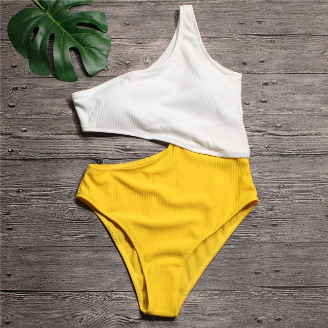 0b48eae22d6 Sexy White Yellow High Waist Cut Out Trikini Ribbed Bathing Suit Monokini  Asymmetric Shoulder Swimwear Women