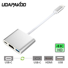 USB Type C to HDMI Digital Multiport Adapter USB C to Type C 3.1/ USB 3.0/HDMI 3 Port Hub for New Macbook Pro Samsung Note 8 S8