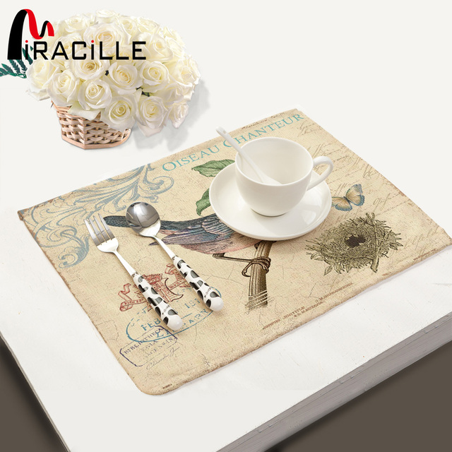 Miracille Home Decor Vintage Birds Printed Table Placemats For Drink Coasters Set Cup Bowl Mat Kitchen