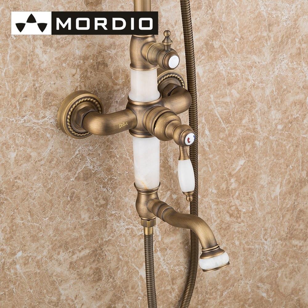 Bathroom Brass Shower Faucet with Slide Bar Hand Shower and Rainfall ...
