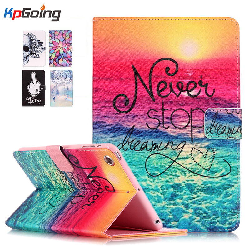 Fashion Painting Case for IPad Air 2, PU Leather Cover Folio Case Stand Function Flower Cover for IPad 6 / Air 2 Case Cover