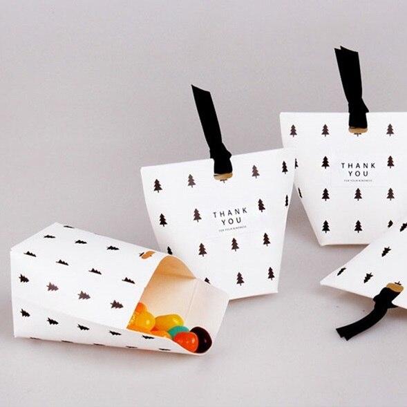 Einfaches Design 10 stücke Schwarz Baum Papier Box Für Süßigkeiten Cookie Schokolade...