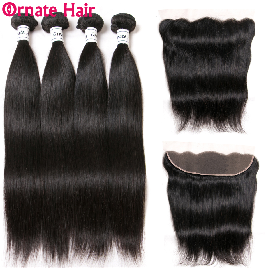 Ornate Brazilian Straight Hair Bundles With Frontal Human Hair Weave 4 Bundles With Ear To Ear