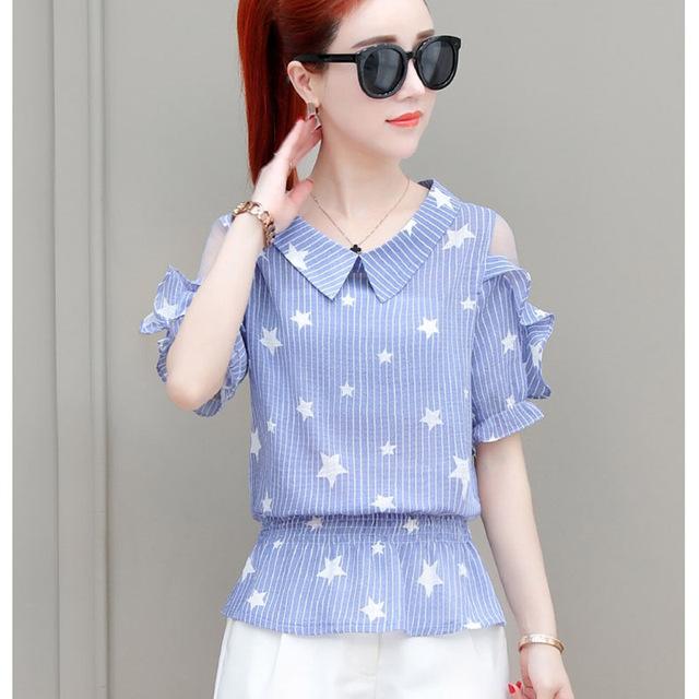 Women Spring Autumn Style Chiffon Blouses Shirts Lady Casual Peter pan Collar Striped Blusas Tops DF1728