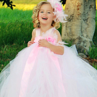 Romance Feather Flower Brooch Girl Tutu Dresses Girl Party Dress For Birthday Light Pink Mix White Girls Ball Gown