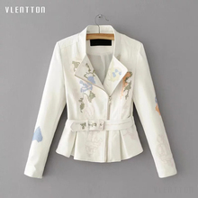 Autumn White Print Women's PU Leather Jacket Coat Sashes Long Sleeve Short Female Biker Jacket Embroidery Faux Leather Outwear studded embroidery pu biker jacket