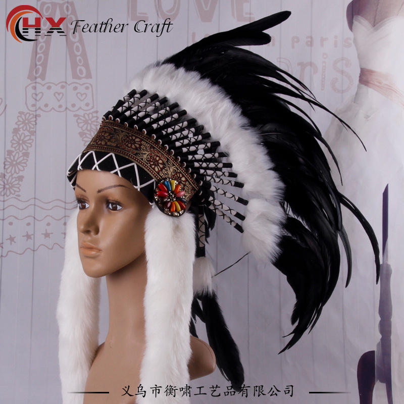 Riginal indians DIY  a savage costume party props exaggerating creative catwalk runways stage headdress feathers  special hat