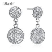 Real 925 sterling silver round drop Earrings Zirconia jewelry women's Earring boucles d oreille femme bijoux en argent 925 цена
