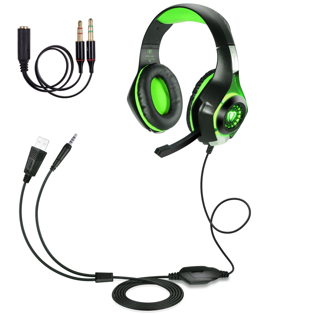 3.5mm PC LED Light Gaming Earphones Over-ear Headset Headphone with Mic Microphone For SONY PS4 Laptop Computer - Volume Control