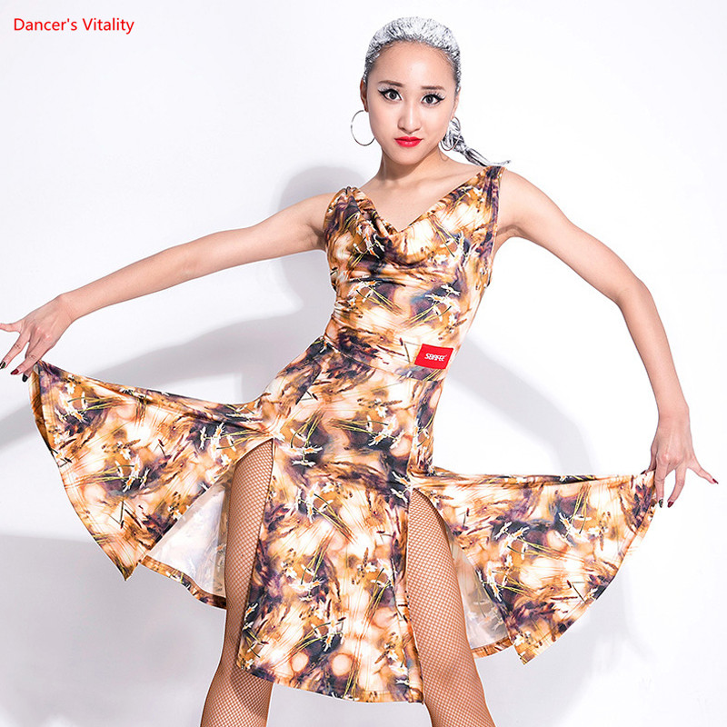 Adult Latin Dance Dress Sexy Sleeveless Backless Dance Practice Costumes For Women/Lady Stage Performance Dancewears