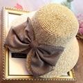 Sombreros de verano para Las Mujeres 2017 Disquete Sombrero de Visera de Escalada Al Aire Libre plegables Mujeres Playa Arco Chicas Sombreros de Paja Sunhat Cap Chapeau Femme