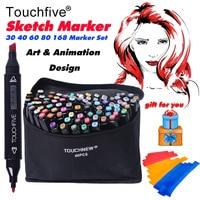 2017 TOUCHFIVE 30 40 60 80 168 Colors Double Headed Art Sketch Marker Pen For Artist