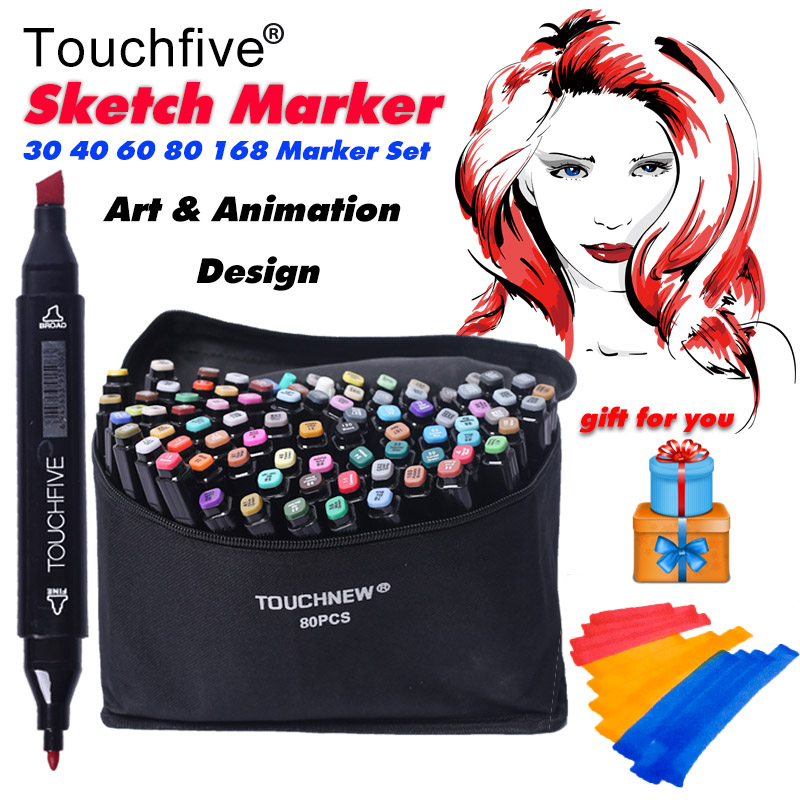 TOUCHNEW 30/40/60/80/168 Colors Pen Marker Set Dual Head Sketch Markers Brush Pen For Draw Manga Animation Design Art Supplies touchnew 168 colors artist painting manga art marker pen head alcohol art sketch graffiti markers set markers designer