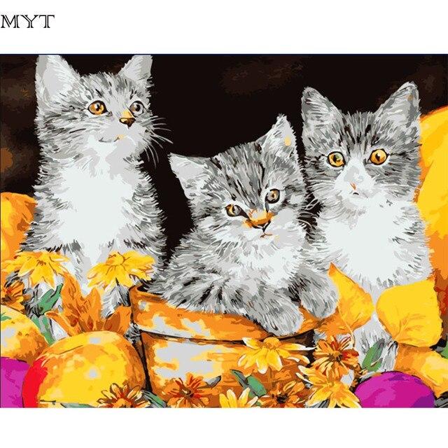 Myt bebé gato animal para niños Sala decoración pintura al óleo ...