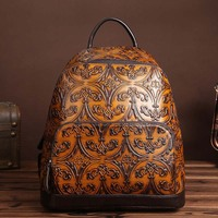 New Vintage Cowhide Leather Women Bags Casual Brush Color Handmade Backpacks For Girl Cowhide Leather Ladies