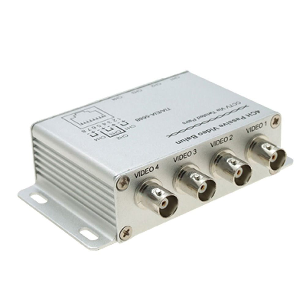 KSOL New Silver UTP 4 Channel Passive Video Balun Transceiver Adapter|adapt clothing|adapter pin|balun cat5 - title=