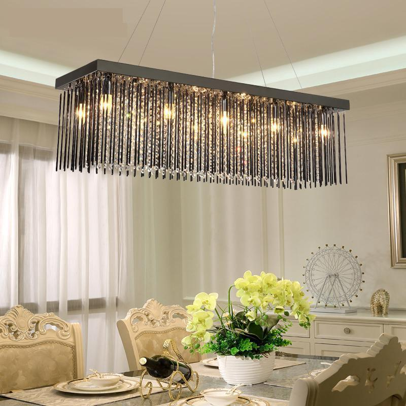 Black glass Restaurant Chandelier Crystal Lamp Rectangular Dining room hanging Lamp Led Chandelier Modern lighting lustre Lamp restaurant white chandelier glass crystal lamp chandeliers 6 pcs modern hanging lighting foyer living room bedroom art lighting