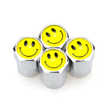 4 X Cute Smile Car Wheel Metal Valve Stem Air Caps Accessories for Ford Focus 2 Fiesta Renault Chevrolet Volkswagen Polo Golf(China)