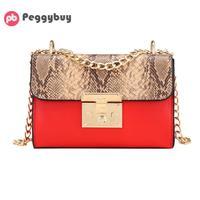 Fashion Snake Skin Shoulder Bags For Women 2018 Luxury PU Leather Handbag Designer Bags Famous Brand