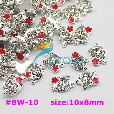 Freeshipping- 10pcs 3D Metal Alloy Crystal Hello Kitty 3DNail Art Decoration Dropshipping [retail] SKU:D0135