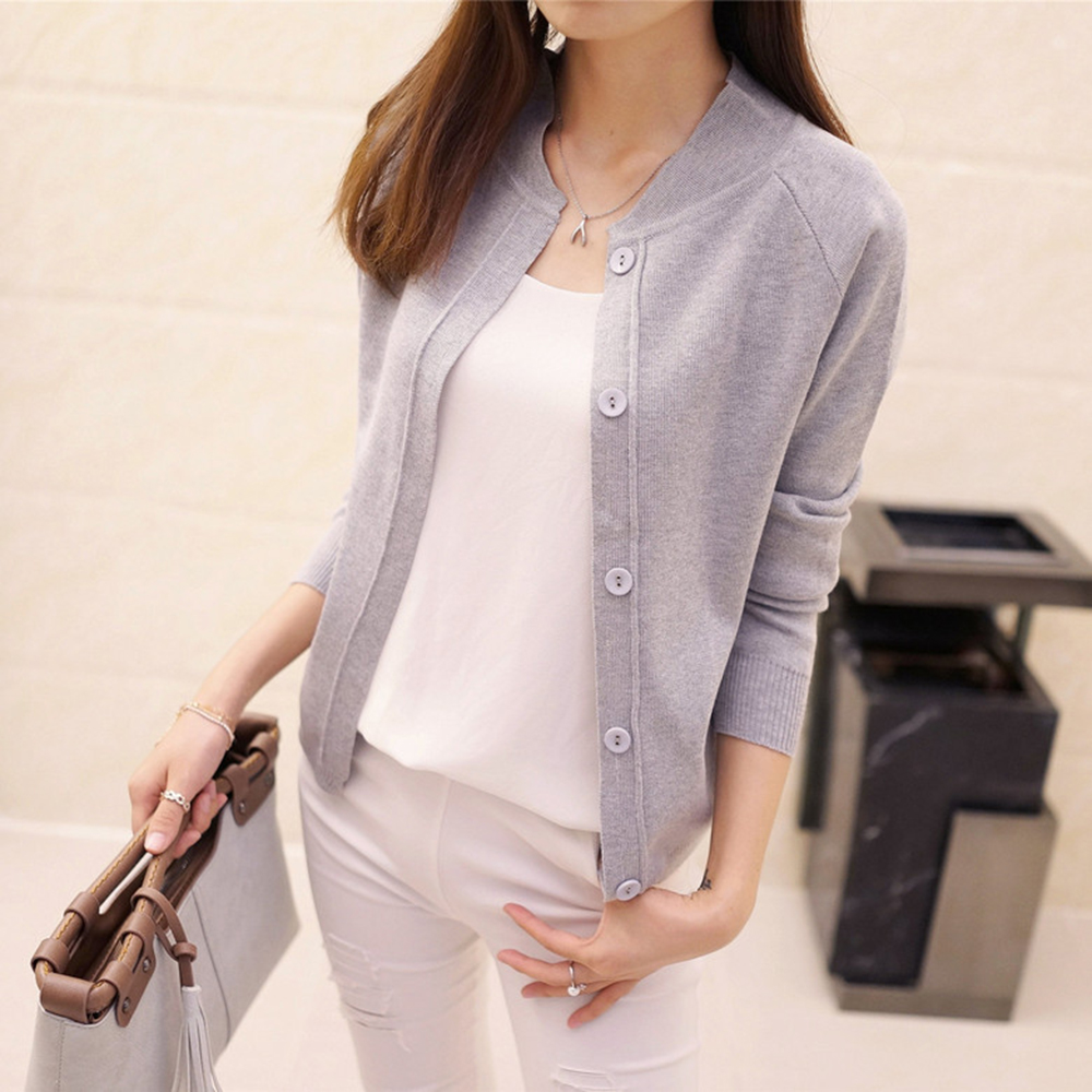 Sweet Short Cardigan For Women Fashion Sweater 2017 Black Gray ...