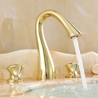 Luxury high quality brass material gold plating handle widespread basin faucet sink faucet Mixer tap