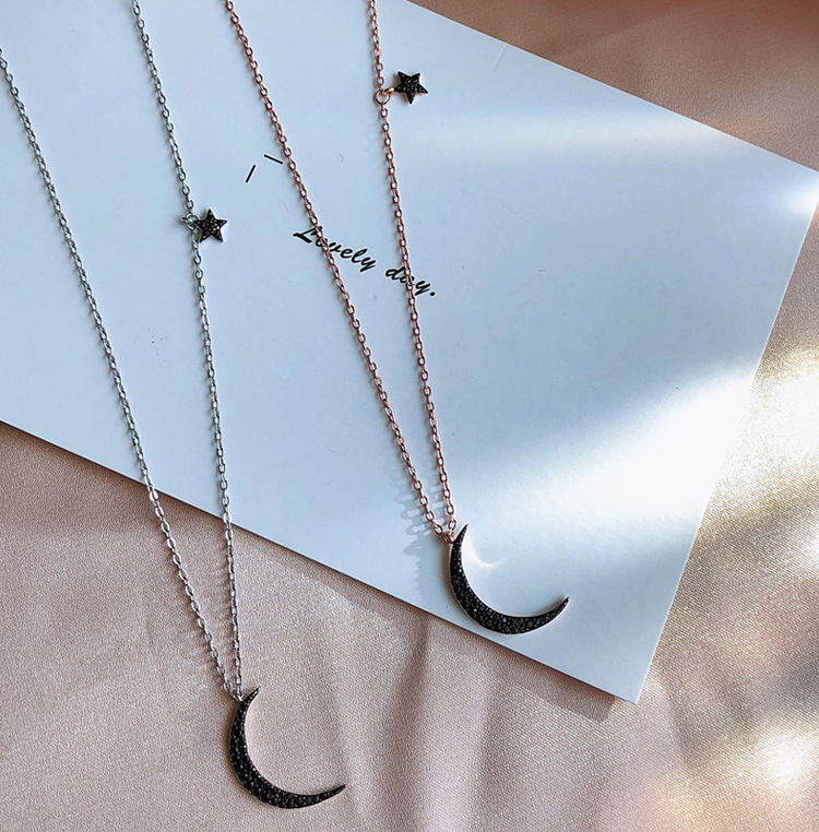 New Arrival Drop Shipping 925 Sterling Silver Necklaces Star-moon Asymmetry Pendants&Necklaces Jewelry Collar Colar