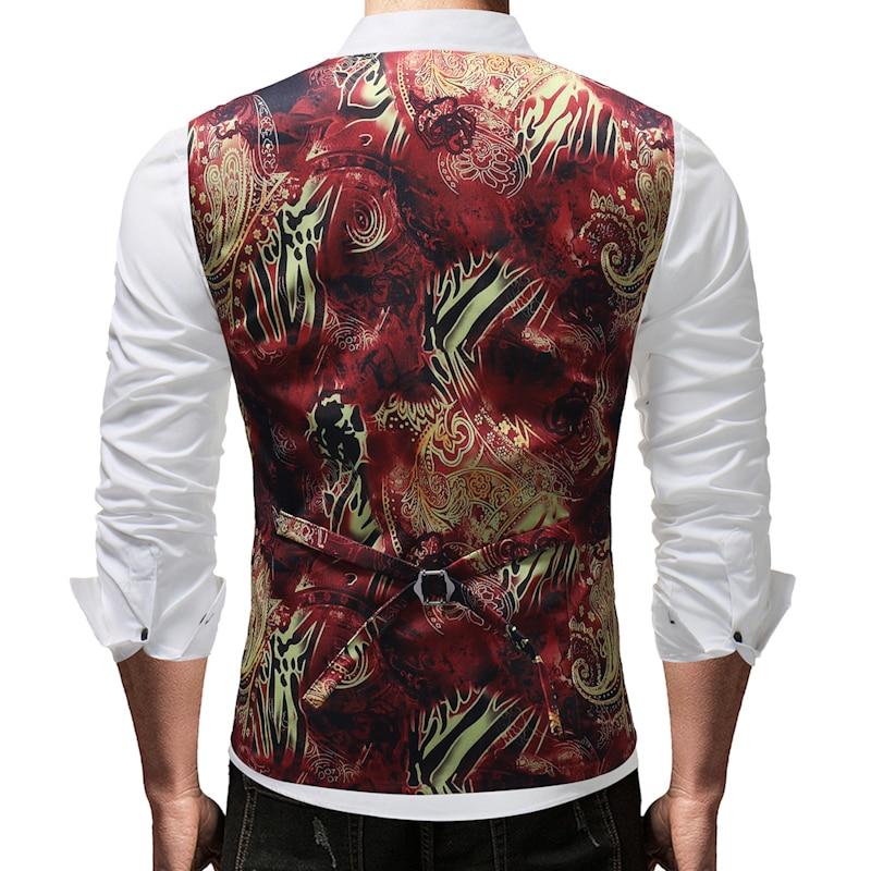 plus size 5xl moda hombre 2018 fashion print wedding suit vest slim fit gilet men casual waist coat for men in Vests from Men 39 s Clothing