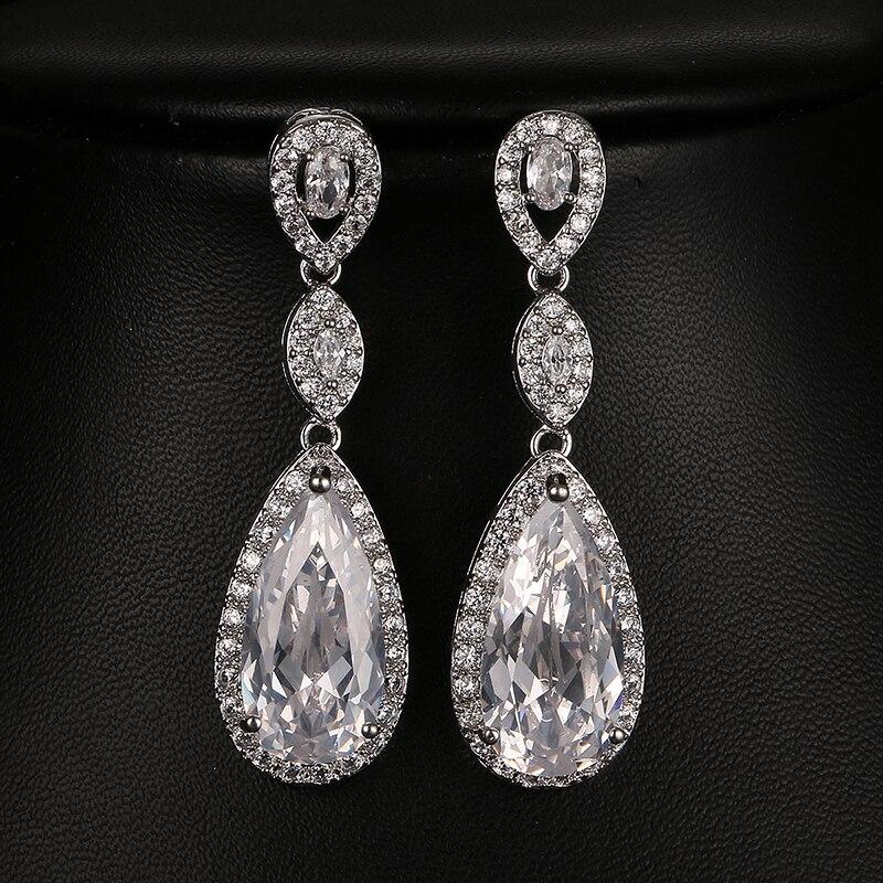 Emmaya Luxury Bride Wedding Long Earrings for Women Amazing Cubic Zirconia Crystal Wedding Jewelry Party Gift amazing women