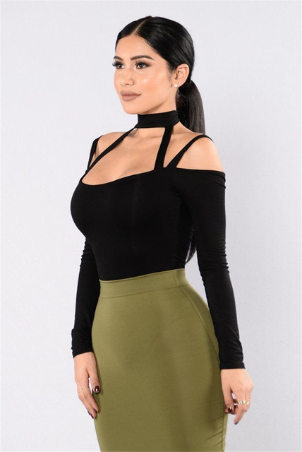 559da547848 Sexy Women Long Sleeve V-neck Choker Hollow Out Bodysuit Bodycon Bandage Off  Shoulder Stretch Clubwear Romper Jumpsuit Playsuit