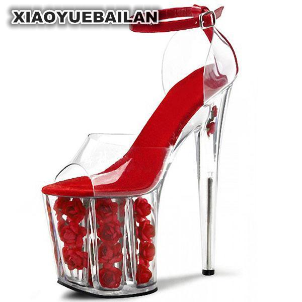 Romántica 20 Etapa Cristal Cm transparente Paquete Rojo Super De Tacón Alto Gran Boda Rosa Con Zapatos Novia Sandalias q0Hxqrn1